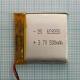 Аккумулятор (АКБ) универсальный - 30x30x6мм 3.7V 500mAh
