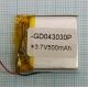 Аккумулятор (АКБ) универсальный - 30x30x4мм 3.7V 500mAh