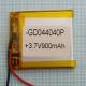Аккумулятор (АКБ) универсальный - 40x40x4мм 3.7V 900mAh