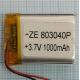 Аккумулятор (АКБ) универсальный - 40x30x8мм 3.7V 1000mAh